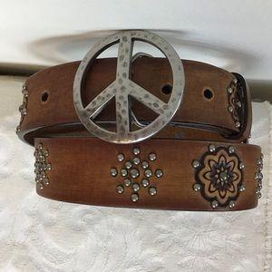 BRIGHTON Leather Peace Sign Studded Belt Boho